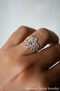 Fatima hand ring - 925 sterling silver by MelaniaGoriniJewelry