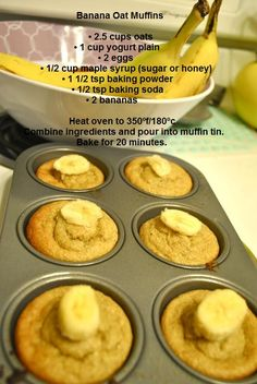 Banana Oat Muffins. No flour. Very yummy. It helps to use very very very ripe bananas. I used half the maple syrup and used a couple teaspoons of Splenda. I topped with some pecans and like 4 chocolate chips! Delicious and will make again