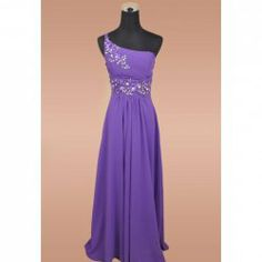$50.88 Charming Appliques and Beading Embellished One-Shoulder Sweep Train Evening Dress For Women