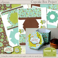 Cupcake Box Project Kit: A project kit with digital cutting files, digital papers, Photoshop templates adn a complete printable.  #digitalscrapbooking, #cutfiles, #SVGfiles