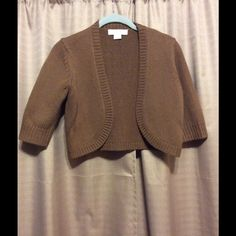 Michael Kors cardigan Caramel 100% cashmere elbow sleeve shrug. No modeling, no trades, no bundle, no holds, np PP, only sale here. I don't negotiate by command message. Push the official button. PRICE FAIRLY FIRM. Michael Kors Sweaters Cardigans