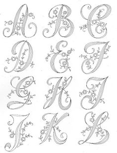 Resultado de imagen de patterns for piping royal icing Embroidery Alphabet, Embroidery Monogram, Ribbon Embroidery, Cross Stitch Embroidery, Machine Embroidery, Embroidery Stitches Tutorial, Hand Embroidery Designs, Embroidery Techniques, Calligraphie Copperplate