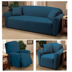 cheap cobalt jersey knit fitted sofa loveseat chair futon recliner slipcover by