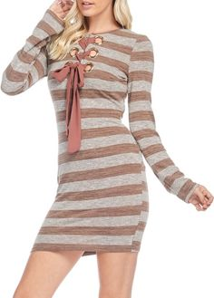 Cornerstone (Brown) - stripe cute party dress