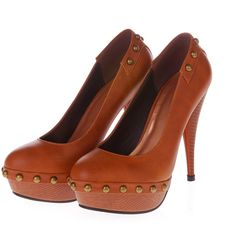 Orange Spike Decor Platform Heels $24.99