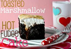 Toasted Marshmallow Hot Fudge Cake