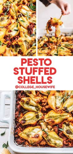 An easy Pesto Stuffed Shells recipe made with jumbo pasta shells, pesto, and creamy ricotta – all swimming in a savory Italian sausage marinara! With the option to prepare the stuffed shells in advance, all you have to do is bake it right before serving. It's a great as a weeknight dinner, or as part of a dinner party menu Pasta Shells, Pasta Dinner Recipes, Stuffed Shells Recipe, Night Food, Cheesy Recipes, Pesto Recipe, Pesto Pasta, Easy Family Meals, Easy Weeknight Dinners