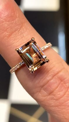 Emerald Cut Peachy Morganite and Diamond Solitaire Cocktail Ring, Rose Gold Morganite . - Emerald Cut Peachy Morganite and Diamond Solitaire Cocktail Ring, Rose Gold Morganite Ring, - Dream Engagement Rings, Rose Gold Engagement Ring, Tiffany Engagement, Diamond Wedding Rings, Bracelet Friendship, 3 Karat, Rose Gold Morganite Ring, Morganite Jewelry, Anillo De Compromiso