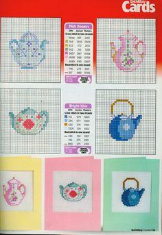 Tiny Teapots 2 of 2 Tiny Cross Stitch, Cross Stitch Kitchen, Cross Stitch Cards, Cross Stitch Samplers, Cross Stitching, Cross Stitch Embroidery, Cross Stitch Patterns, Simple Embroidery, Plastic Canvas Patterns