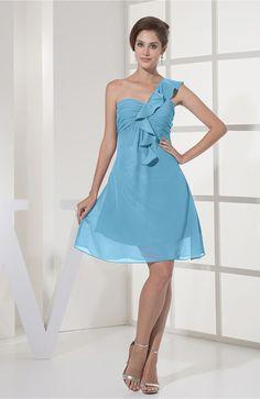 Light Blue Bridesmaid Dress - Casual A-line Sleeveless Zipper Chiffon Knee Length Short