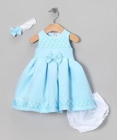 Take a look at this Blue Polka Dot Bow Dress Set - Infant by Shanil on @zulily today!