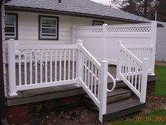 Vinyl Deck Railing Visit lots of Deck Railing Ideas http://awoodrailing.com/2014/11/16/100s-of-deck-railing-ideas-designs/