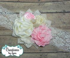 Pink & Cream Flower Cluster Headband by CreationbyLynn on Etsy