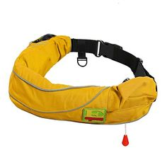Premium Quality Automatic  Manual Inflatable Belt Pack PFD Waist Inflate Life Jacket Lifejacket Vest SUP Survival Aid Lifesaving PFD with Zippered Storage Pocket for Adult Yellow Color ** You can get more details by clicking on the image.Note:It is affiliate link to Amazon.