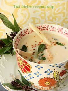 Thai chicken coconut soup for the first chill of autumn