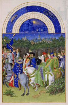 """cscclibrary:  [Image: """"May,"""" fromLes Très Riches Heures du duc de Berry] Featuring a traditional May 1 promenade, this page fromLes Très Riches Heures shows us nobles on horseback in rich attire, including the green gowns and green trappings favored for this celebration of Spring. The party is searching for flowers and green branches to weave into crowns and garlands, which some are already wearing. Taurus and Gemini are the Zodiac constellations featured at the top of the page."""