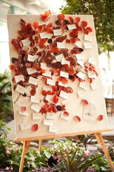 falling leaf escort card display from the brilliant holly chapple (photo by genevieve leiper)