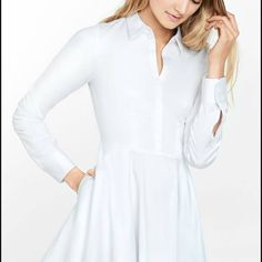 Express white button down flare dress Still on site for 80. Worn once to a gala. Styled under another express dress. Need to double check that it's in perfect condition. This runs small for Express which always runs large. Size 2 I believe which fits like a 0 Express Dresses Mini
