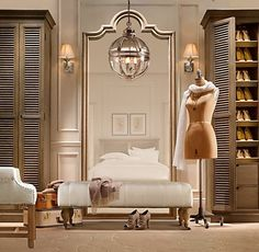 Dressing Room/Closet with wedding dresses displayed, makeup/jewelry area (could also be laundry room and linen closet)