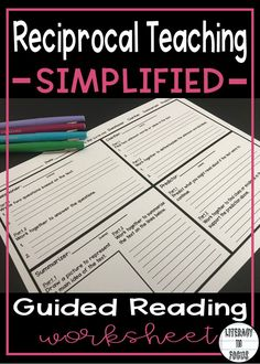 A simplified no-nonsense approach to reciprocal teaching. Keep your students focused and on-task with this FREE guided worksheet. Take the stress out of reciprocal teaching for good! #readingteacher #freeresources #englishteacher #groupwork #reciprocalteaching #novelstudy