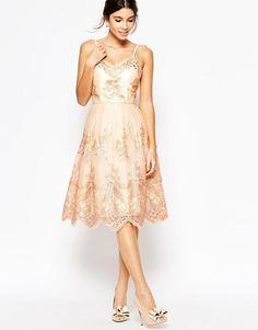 Chi Chi London   Chi Chi London Premium Metallic Lace Midi Prom Dress with Cami Straps at ASOS