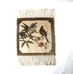 vintage 1950's wool rug tapestry bird on branch handwoven wall hanging decorative home decor hollywood regency art nouveau flowers neutral by RecycleBuyVintage on Etsy