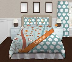 This Duvet Cover is just Classy Adorable, with Butterflies and Birds mixed into the Blues and oranges...