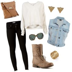 Combat boots and jean vest. if anyone wants to buy me stuff, please buy me all of these thing and I will be happy.:)