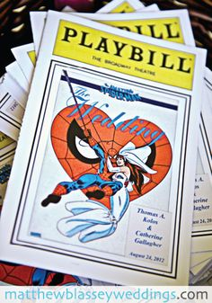 PLAYBILL WEDDING PROGRAMS. - could also think comic book wedding invitations (i like the idea that the program is the playbill as that is what you get at a play as the program)