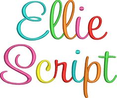 Block Letter hand embroidery fonts   Ellie Script Embroidery Font - DigiStitches Machine Embroidery Designs