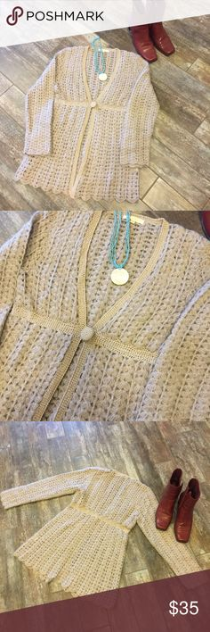 """Super soft & feminine Anthropology crochet sweater Casual chic, with great detailing. Close to new condition. Color is a taupe-grey. Great neutral! 15"""" shoulder to shoulder, 32"""" around at button closure. Length 30"""", top to bottom of waist band is 14"""", sleeve length 23"""". Wool blend. Anthropology Gold Hawk Sweaters"""