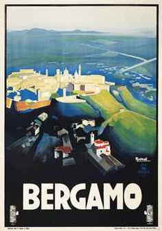 Marcello Nizzoli (1887-1969) BERGAMO lithograph in colours, 1927, printed by Star, Milano, condition A-; backed on linen 39 x 27½in. (99 x 70cm.)