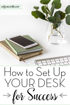 Learn how to set up your desk for success! At work or in your home office, this DIY desk organization system will improve your organization & productivity.