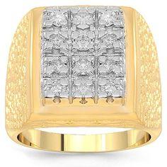 14K Yellow Gold Mens Diamond Pinky Ring 1.00 Ctw: Avianne & Co: Jewelry