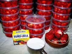 Frozen Lunchbox Strawberries. I often waste fresh fruit because I can't eat it all before it goes bad. Maybe this will work with less sugar?