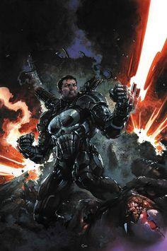 The Punisher is going to don James Rhodes' War Machine armor for Marvel Legacy. Punisher Marvel, Marvel Dc Comics, Hq Marvel, Marvel Heroes, Daredevil, Captain Marvel, Comic Book Characters, Comic Books Art, Comic Art