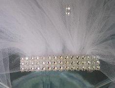 bachelorette veil, bachelorette party veil, hen party,, shower veil silver accent party veil, bride, bridal shower accessory, tulle veil by SuspendedStar on Etsy