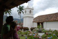 Tourists admiring the beautiful  Orosi Church