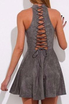 Gray Bandage Hollow Out Halter Party Mini Dress