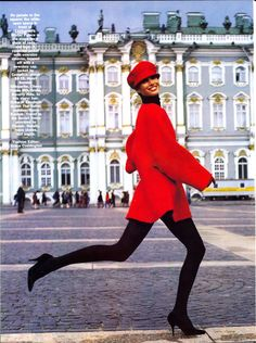 Christy Turlington in Reds for Vogue, September 1990 | Shot by Arthur Elgort | Styled by Grace Coddington | location: Winter Palace | St. Petersburg | Russia