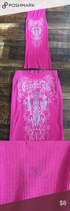 Pink Cowgirl Up Embellished Racerback Tank Pink Cowgirl Up Embellished Racerback Tank Size Medium.  Embellished sparkle cross on front. 100% cotton. Only worn once. 13 inches across chest, 27 inch long. Cowgirl Up Tops Tank Tops