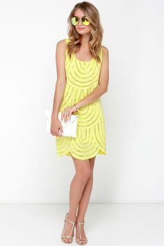citrus colored shift dress with sequins // perfect for a summer wedding