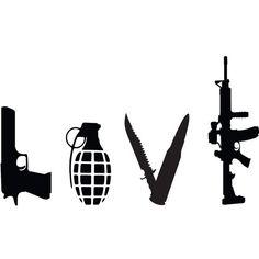 Love Weapons Gun Vinyl Decal Gun Decal for Cars by Tetreaunomics, $6.00