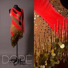 Fluorescent Red Latin w/ Nude Diagonal Panels w/ Sequins & Gold Beaded Fringe w/ Paillettes
