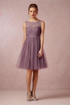 Unique A-line Illusion Neck Short Knee Length Tulle Bridesmaid Dress