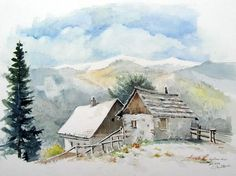Image: Snow, Alpine huts, Styria, landscape of Egon Miklavcic … Watercolor Projects, Watercolor Landscape Paintings, Landscape Drawings, Watercolor Drawing, Watercolor Artists, Watercolor Techniques, Abstract Watercolor, Watercolor Illustration, Watercolour Painting