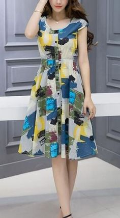 Women's Going out Casual/Daily A Line Dress,Floral Round Neck Above Knee Short Sleeves Frock For Women, Casual Dresses For Women, Clothes For Women, Fabulous Dresses, Cute Dresses, Vintage Dresses, Casual Frocks, Zara Fashion, Casual Street Style