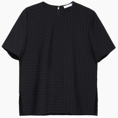Alexander Wang Boxy Pinstriped Tee ($495) ❤ liked on Polyvore featuring tops, t-shirts, shirts, tees, crew neck shirt, boxy t shirt, crew t shirt, pinstripe t shirt and crew neck tee