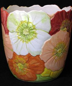 handmade ceramic pottery plant pot poppy engraved underglazes