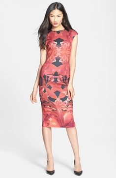 Ted Baker London 'Jungle Orchid' Print Neoprene Midi Dress @nordstrom